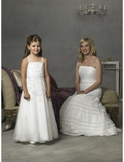 A-line/Princess Spagetti Straps Floor Length Satin Flowergirl Dresses NEW style(FGD0081)