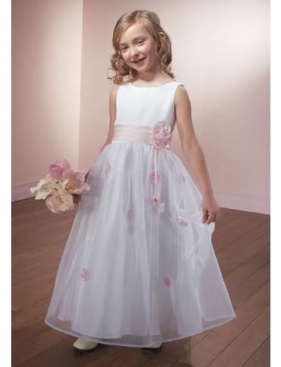 A-line Bateau Floor-Length Satin Flower Girl Dress NEW style(FGD0092)