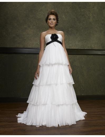 Empire Strapless Chapel Train Chiffon wedding dress(WEDS0004)  for brides new style