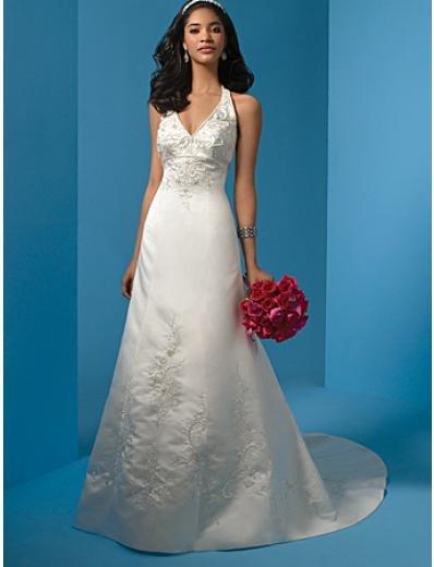A-Line/Princess V-neck Chapel Train Satin wedding dress (WS0009)  for brides new style