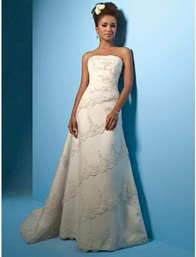 A-Line/Princess Strapless Chapel Train Satin wedding dress (WS0010) for brides new style