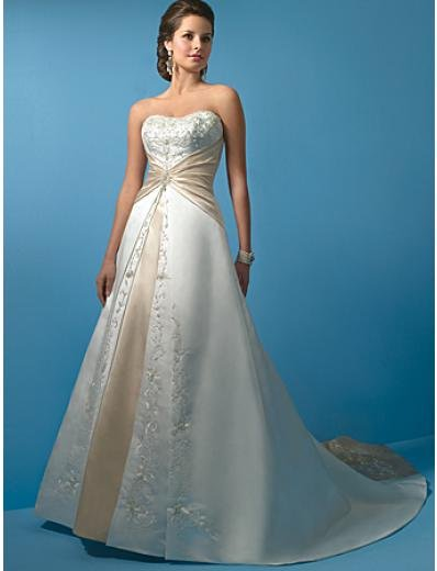 A-Line/Princess Strapless Cathedral Train Satin wedding dress (WS0011) for brides new style