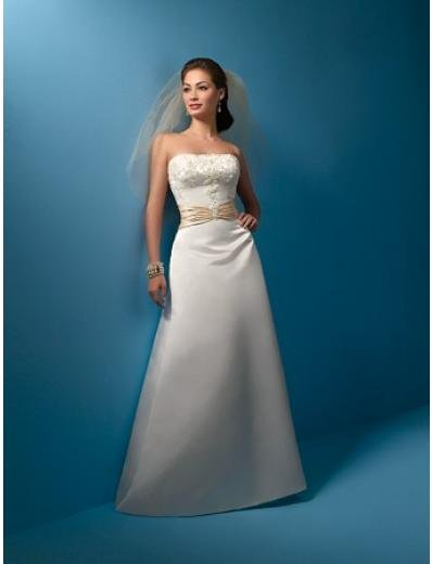 A-Line/Princess Strapless Chapel Train Satin wedding dress (WS0004) for brides new style