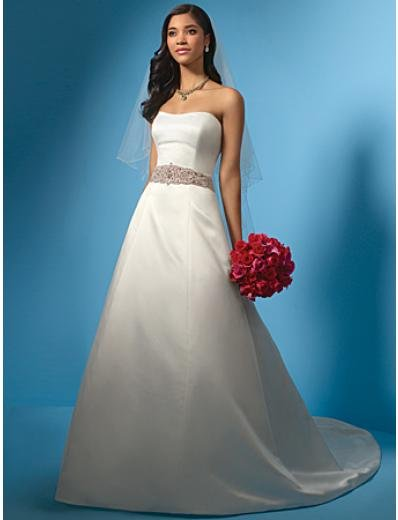 A-Line/Princess Strapless Chapel Train Satin wedding dress (WS0005) for brides new style