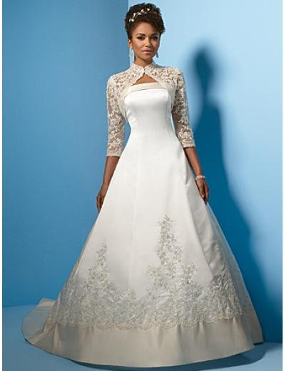 A-Line/Princess Strapless Chapel Train Satin wedding dress (WS0006) for brides new style