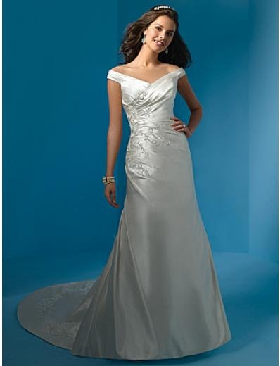 A-Line/Princess Strapless Chapel Train Satin wedding dress (WS0002) for brides new style