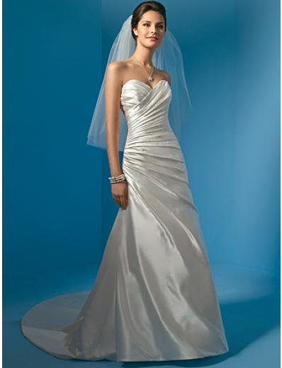 A-Line/Princess Strapless Chapel Train Satin wedding dress (WS0003) for brides new style