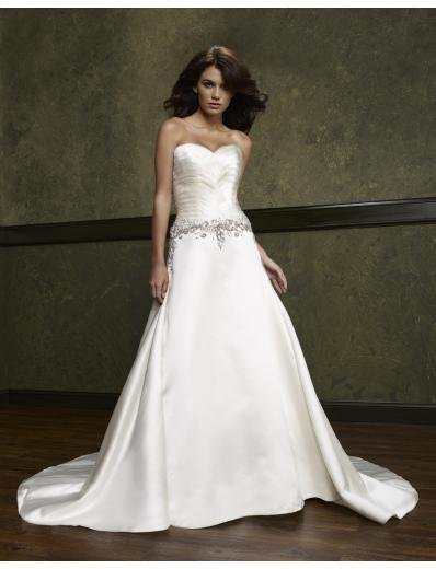 A-Line/Princess Sweetheart Chapel Train Satin wedding dress(WEDS0001) for brides new style