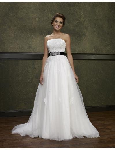 A-Line/Princess Strapless Chapel Train Satin Tulle wedding dress(WEDS0003) for brides new style