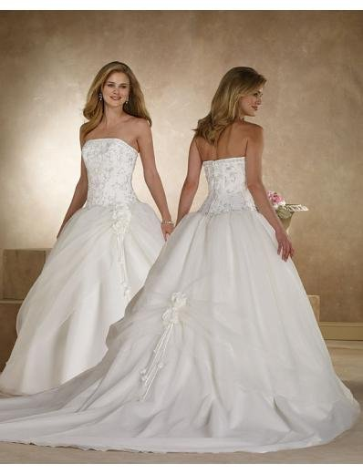 A-Line/Princes Strapless Chapel train organza satin wedding dress(BST0048) for brides new style