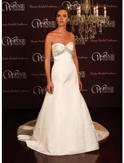 A-Line/Princess Strapless Chapel Train Satin wedding dress (SEW0012) for brides new style