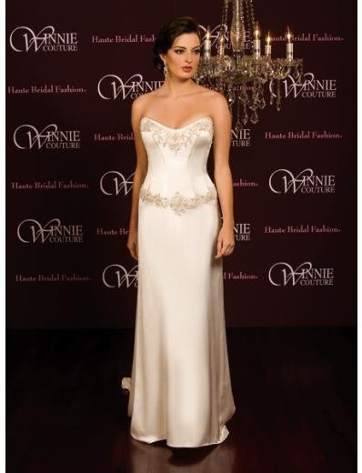 A-Line/Princess Strapless Chapel Train Satin wedding dress (SEW0015) for brides new style