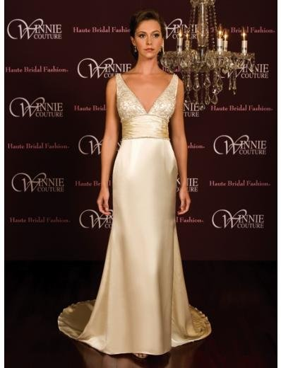 A-Line/Princess V-neck Chapel Train Satin wedding dress(SEW0016)  for brides new style