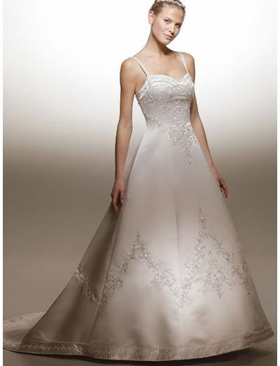 A-line Straps Court Train Satin Wedding Dress (W100703) for brides new style