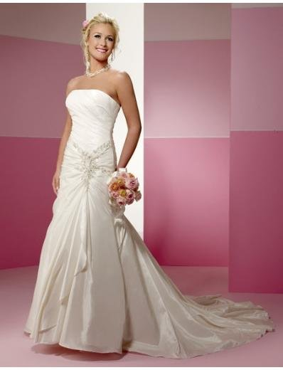 A-Line/Princess Strapless Chapel Train Taffeta wedding dress for brides new style(BST0551)