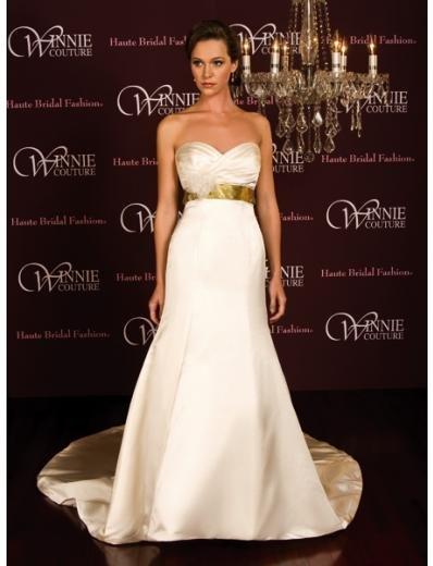 A-Line/Princess Strapless Chapel Train Satin wedding dress (SEW0026) for brides new style