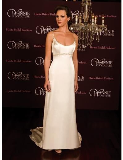 A-Line/Princess Spaghetti Straps Chapel Train Satin wedding dress (SEW0021) for brides new style