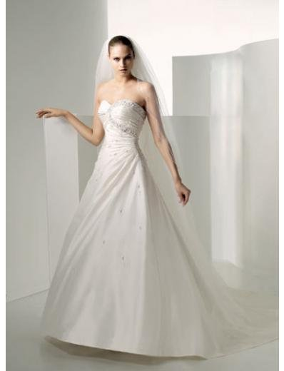 A-Line/Princess Strapless Chapel Train Satin wedding dress for brides new Style(WDS0236)