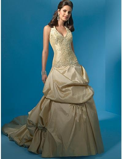 A-Line/Princess Halter top Chapel Train Taffeta wedding dress (WS0017) for brides new style