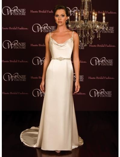 A-Line/Princess spaghetti straps Chapel Train Satin wedding dress (SEW0024)  for brides new style