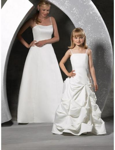 A-line Spaghetti Straps Floor Length Satin Flower girls Dress new style(FGD0052)