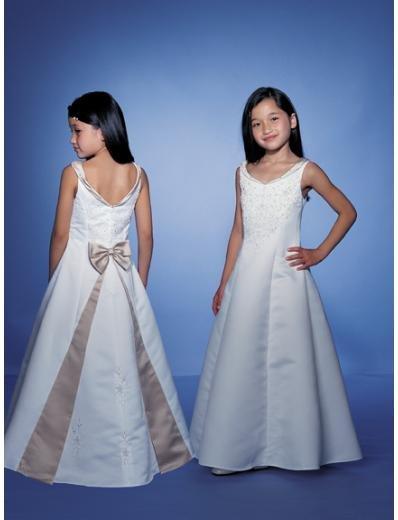 A-line V-neck Floor Length Satin Flower girls Dress 2010 style(FGD0048)