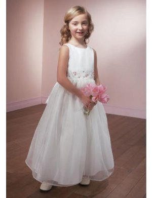 A-line Scoop Knee-Length Organza Flower Girl Dress 2010 style(FGD0094)