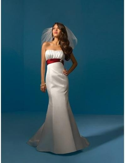 A-Line/Princess Strapless Chapel Train Satin wedding dress (WS0026) for brides new style