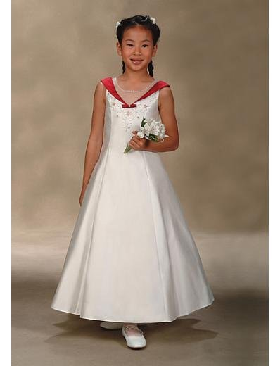 A-Line V-neck Tea-length Satin Flower girls dress 2010 Style(FGD0002)