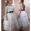A-line Scoop Knee-Length Chiffon Flower Girl Dress 2010 style(FGD0095)