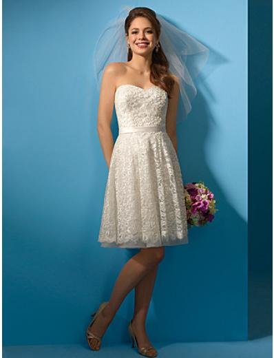A-Line/Princess Strapless knee-length Satin Lace wedding dress (WS0027) for brides new style