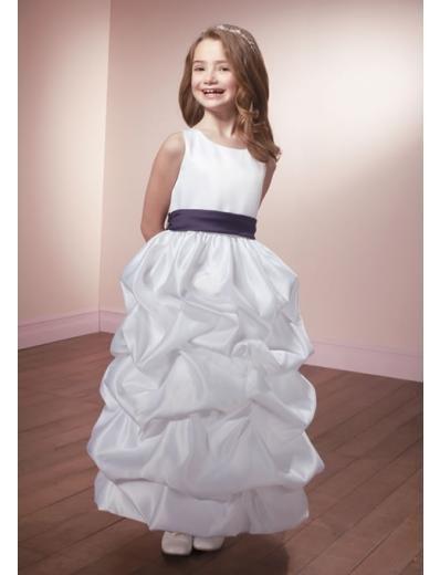 A-line Scoop Knee-Length Satin Flower Girl Dress 2010 style(FGD0091)