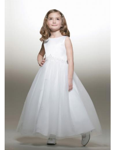 A-line Bateau Knee-Length Organza Flower Girl Dress 2010 style(FGD0090)