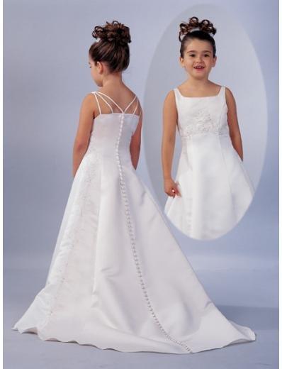 A-line Scoop Chapel Train Satin Flower girls Dress NEW style(FGD0045)