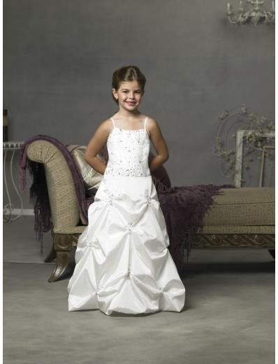 A-line/Princess Spagetti Straps Floor Length Satin Flower Girl Dress NEW style(FGD0082)