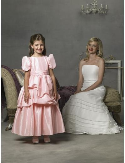 A-line Jewel Tea-Length Taffeta Flower Girl Dress 2010 style(FGD0083)