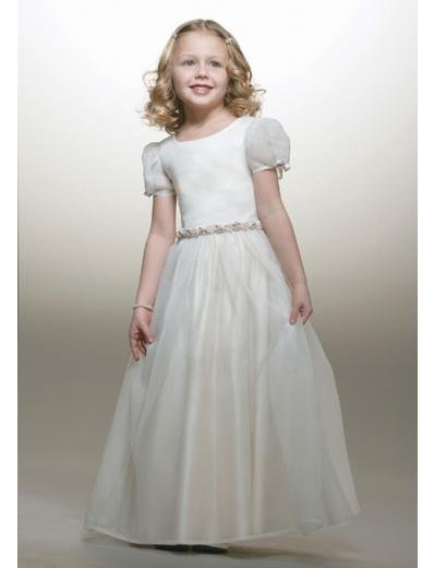 A-line Round-neck Floor-Length Satin Flower Girl Dress NEW style(FGD0084)
