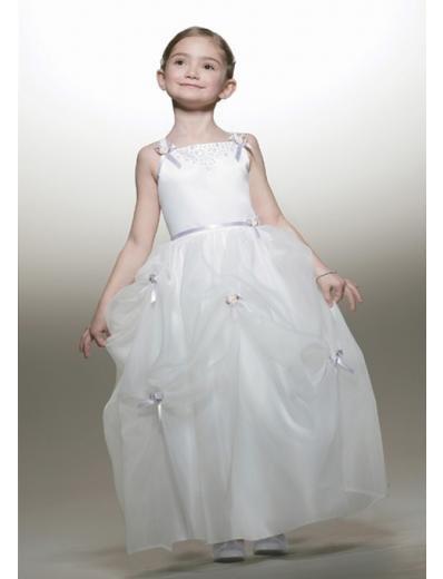 A-line Spagetti Straps Tea-Length Organza Flower Girl Dress NEW style(FGD0086)