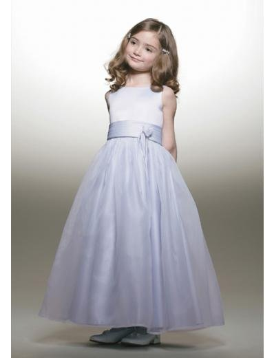 A-line Round-neck Tea-Length Satin Flower Girl Dress 2010 style(FGD0085)