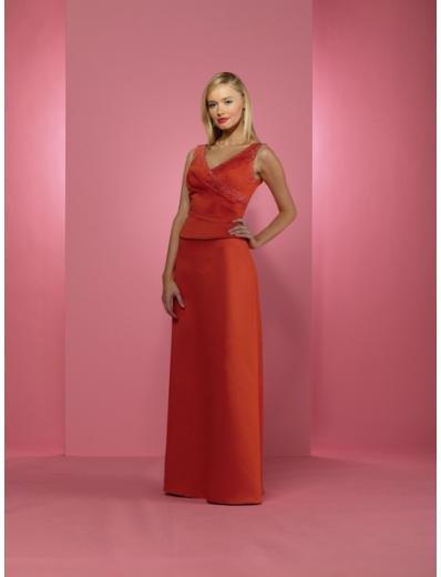 A-Line V-neck Floor- Length Satin Mother of bride Dress new Style(MWYN042)