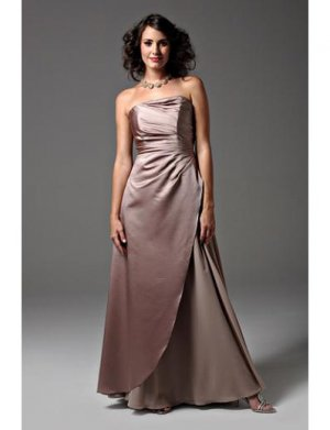 A-Line Strapless Floor- Length Satin Mother of the Bride Dresses 2010 Style(MWYN122)