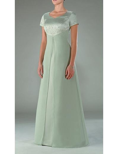 A-Line Scoop Floor- Length Satin Mother of the Bride Dresses new Style(MWYN001)