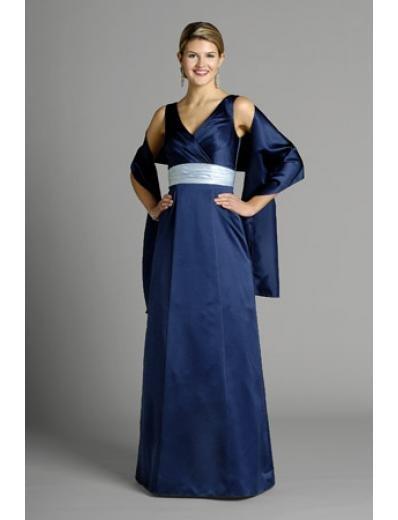 A-Line V-neck Floor Length Satin Mother of the Bride Dresses(MBD0095)