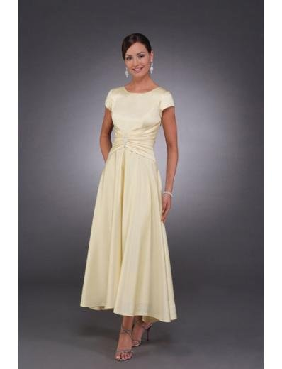 A-Line Round-neck Tea-length Satin Mother of the Bride Dresses new style(MWYN055)