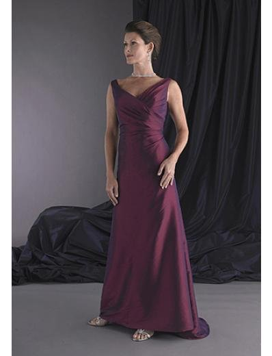 A-Line V-neck Brush Train Taffeta Mother of the Bride Dresses new style(MWYN072)