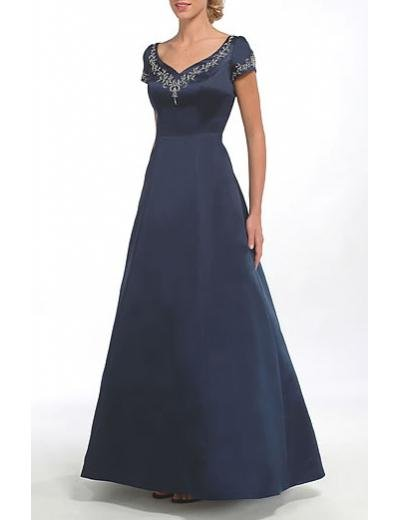 A-Line V-neck Floor- Length Satin Mother of the Bride Dresses new Style(MWYN006)