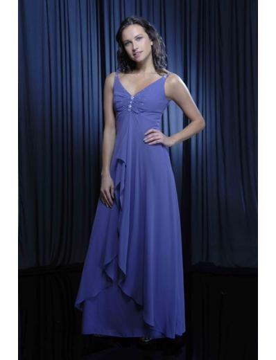 A-Line V-neck Tea-length Chiffion Mother of the Bride Dresses new style(MWYN089)