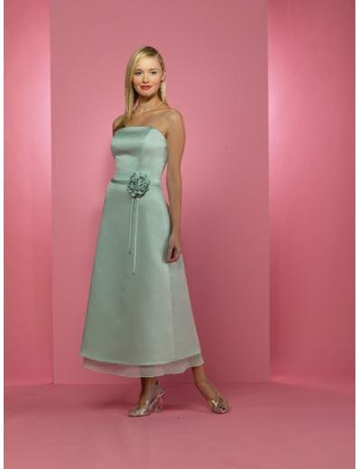 A-Line/Princess Strapless Tea-length Satin Bridesmaid dress for brides new Style(BD0236)
