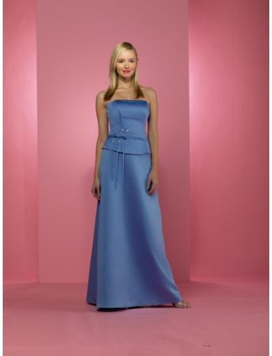 A-Line/Princess Strapless Floor-Length Satin Bridesmaid dress for brides new Style(BD0233)
