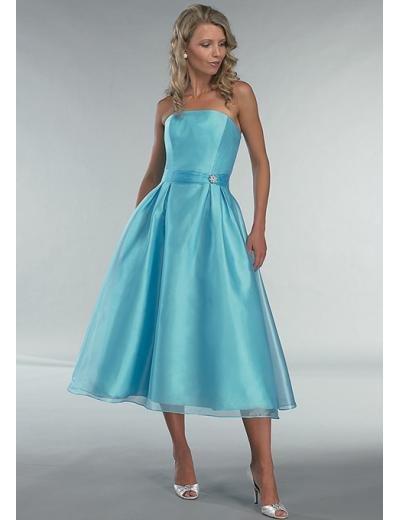 A-Line/Princess Strapless Tea-length Satin Bridesmaid Dress for brides new Style(BD0359)